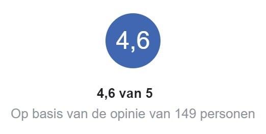 Beoordeling 4.6 van 5 sterren gebaseerd op 149 individuele klant beoordelingen op Facebook