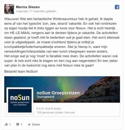 5 sterren review nosun singlereizen avontuurlijk