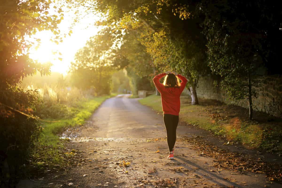 Vrouw wandelt door het bos